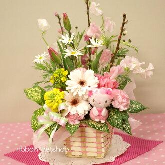 附帶Hello Kitty(櫻花)吉祥物的花桃子和季節的花的插花FL-HM-230