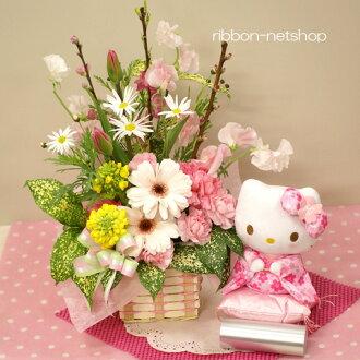 花桃子和季節的花的插花&Hello Kitty櫻花和服nuigurumi安排FL-HM-231