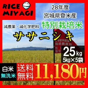 宮城県認証!28年産 宮城県登米産ササニシキ 25kg[白米/無洗米]選択可...