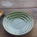 和食器 冷やし豚しゃぶしゃぶ緑釉段付 18.5×3.3cm プレート 丸皿 おうち ごはん うつわ 食器 陶器 日本製 インスタ映え