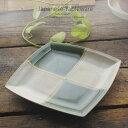 和食器 キャベツナ春雨サラダ 織部グリーン市松 正角皿 スクエア 222×222×23mm おうち ごはん うつわ 陶器 美濃焼 日本製 インスタ映え