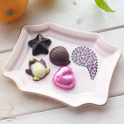 ピンク トリュフチョコチーズトレー フリートレー (Sサイズ) (ゴールドライン・ティアドロップ ピンク)レオパード柄