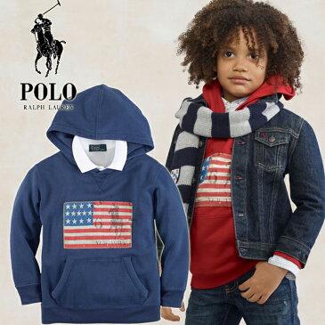 ◆即納◆【Ralph Lauren】★ラルフローレンBOYS・男の子★サイズ4T★大人気モデル・アメリカ国旗プリントパーカー入荷!! 男の子の定番・人気ブルー♪/青BLUE/プルオーバー