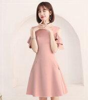 袖コンシャスのフェミニンなドレス♪6色展開2XSから3XLまで結婚式2次会パーティーお呼ばれ婚活dh0465