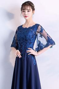 フォーマル 結婚式 ワンピース 40代 ドレス 袖あり パーティードレス ロング ネイビーブルーが高貴な印象のベルスリーブドレス ロング丈 2次会 パーティー お呼ばれ 婚活 dh0469