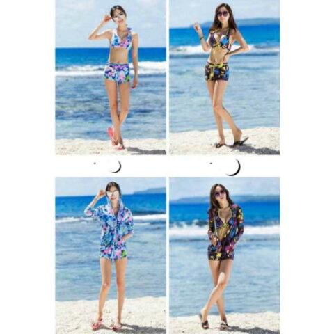 2色展開☆お得な3点セットで日焼け対策もバッチリ!ラッシュガード 水着 体型カバー 長袖 UV対策 日焼け対策 UVカット セット 大きいサイズ da0331
