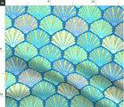 New 海 貝 シェル 珊瑚 コーラル 波 海洋 タツノオトシゴ ヒトデ海柄  輸入生地 生地  ハンドメイド 素材 布 ブルー 青 水色