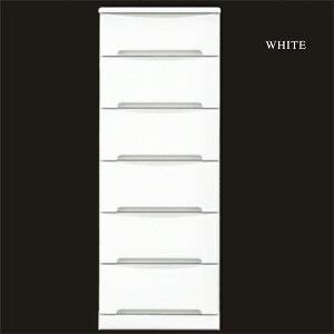 チェスト タンス ハイチェスト スリムチェスト 幅45cm 6段 シンプル ホワイト 衣類収納 たんす ...