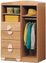 ワードローブ ハンガーラック 幅80cm チェスト タンス 子供部屋 子供家具 キッズ家具 完成品 木製 送料無料