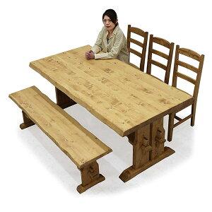ダイニングテーブルセット 木製 高級感 幅180 ダイニング5点セット 楔 ナグリ加工 ベンチ 和モダン おしゃれ ダイニングチェア 3脚セット ダイニングベンチ 食卓セット 5人掛け 6人掛け 北欧