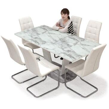 ダイニングテーブルセット 高級感 食卓 6人掛け 7点セット 幅180 合成皮革 椅子 選べる2色 ホワイト ブラック ハイバック仕様 キルティング生地 傷防止付き 楽天 送料無料