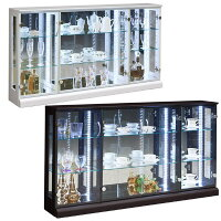 コレクションケース幅150cm奥行25cm高さ80cmロータイプコレクションボードコレクションラックキュリオケースガラスケースリビング収納LEDライト付き完成品送料無料