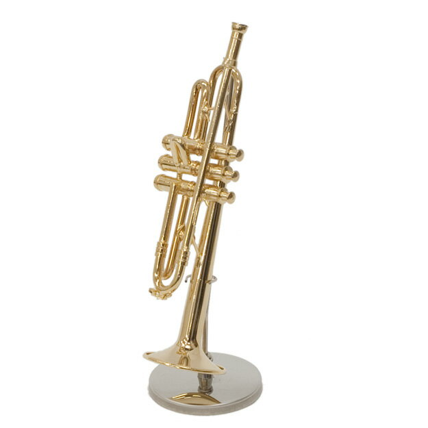 【送料無料】ミニチュア楽器「トランペット」ベル径約3cm 置物 模型 オブジェ インテリア雑貨 プレゼント 吹奏楽 クラシック 楽器 スケール 音楽はインテリア♪ おしゃれ リフル 【代引き可】