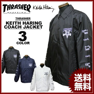スラッシャー THRASHER コート キースへリングコーチジャケット メンズ レディース コラボジャケット 全3色 S-XL