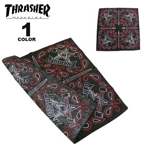 【公式】 スラッシャー バンダナ THRASHER NEW SKATE GOAT BANDANA スカーフ メンズ レディース ユニセックス ブラック 黒