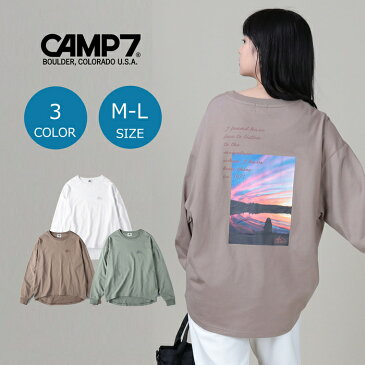 CAMP7 (楽天市場の特別価格!) フォトプリントロンT ウィメンズ 全3色 M-L 長袖Tシャツ ロンティー ビッグシルエット ビッグT おしゃれ トップス 長袖 ブランド ペア カップル ペアルック お揃いRight-on,ライトオン,CP42240001,CAMP7,キャンプ7