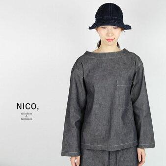 NICO, nicholson&nicholson ニコルソンアンドニコルソン バックギャザーデニムデッキシャツ ROOKIE