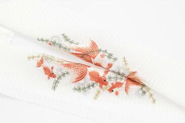 手刺繍 半襟 パールトーン加工済 シルク100% 絽 塩瀬 手刺繍 半衿 夏用 白 金魚