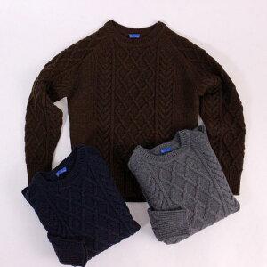 RINGJACKETリングヂャケットCrewneckCableknitSweaterケーブル編みセーター【ブラウン・グレー・ネイビー】