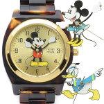 【Disney】べっ甲柄ミッキーミニードナルドウォッチ腕時計