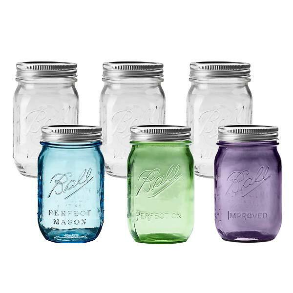 メイソンジャー BALL【ボール】Mason Jar 16oz レギュラーマウス ガラス保存ビン(480ml)100周年 6本セット