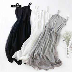 チュールワンピースレディースキャミソールタンクワンピーレース刺繍裏地付き