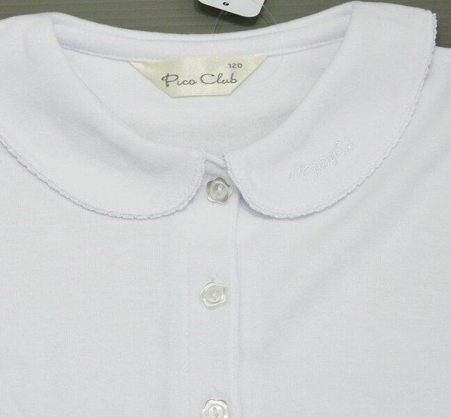 【半袖】ブラウス白《かぶり》綿100%素材衿レース白リボンニットブラウス743-006100〜130ニットブラウス女児ブラウス