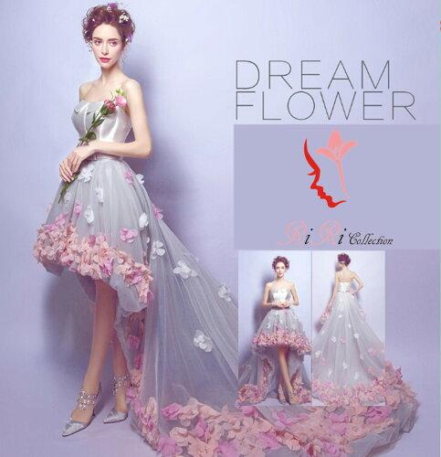 即納♪ ウェディングドレス フラワー flower ドレス カラードレス 前ミニ 結婚式 披露宴...