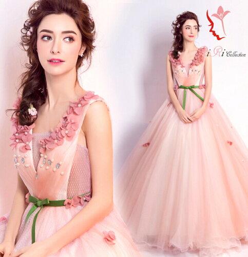 パーティードレス 今年トレンドのピンク オシャレ フラワー flower ドレス カラードレス 結...