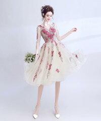 25e65d6bcec88 ... dress-173パーティードレス高級カラードレスリボンドレス結婚式披露宴刺繍 プリンセス ...