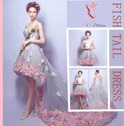 フィッシュテール ショート ウェディング フラワー ビスチェウエディングドレス マタニティウエディングドレス