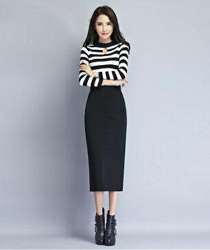 レディス ペンシルスカート 上品 厚めタイプ 裏起毛 あたっか ロングタイプ シンプル ブラック 黒 ストレッチスカート タイトスカート オフィススカート OL スカート 防寒 防寒対策 大きいサイズ SK-002