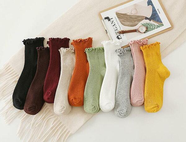 フリルソックス3点セットリブレディースソックスクルーソックス10カラーからお選べられる 3点で1100円靴下フリーサイズコットン