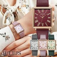 腕時計レディース防水ウォッチスクエア四角おしゃれシンプル上品革ベルト10代20代30代40代50代JULIUSプレゼントギフト入学祝い卒業母の日クリスマス時計JULIUSJA-1269レディース腕時計