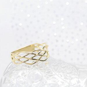 【送料無料】K18K14天の川ゴールドリングレース指輪18金14金指輪