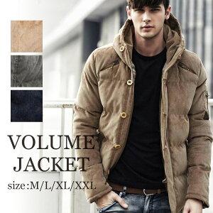 メンズ ボリューム ジャケット 中綿 ダウン コート フード アウター コーデュロイ ファスナー ボタン 厚手 長袖 秋冬 ゆったり M L XL XXL 2L 3L サイズ 大きいサイズ ネイビー ベージュ カーキ mens jacket coat あたたかい かっこいい