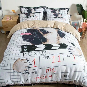 ワイドダブル ベッド用品4点セット 寝具 ボックスシーツ 枕カバー掛け布団カバー ベッドカバー バグ雑貨