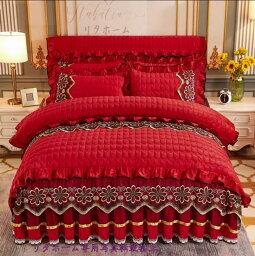 高品質 高級ワイドダブル ベッド用品4点セット 寝具 ボックスシーツ 枕カバー掛け布団カバー ベッドカバー