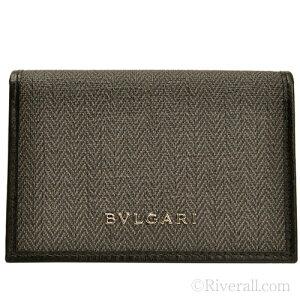 ブルガリ BVLGARI メンズ 名刺入れ カードケース ダークグレー PVC×レザー 32588 アウトレット