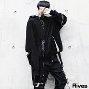 プルオーバーパーカージッパーデザインフード付き黒ブラックユニセックスストリートファッションRivesリーブス韓国オルチャンrives原宿