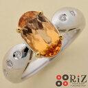 【中古】 K18 インペリアルトパーズ ダイヤモンドリング ジュエリー リング アクセサリー