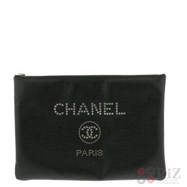 【中古】 CHANEL (シャネル) ドーウ゛ィル スタッズ クラッチバッグ バッグ セカンドバッグ/ポーチ/クラッチ DEAUVILLE Black A80802 used:A