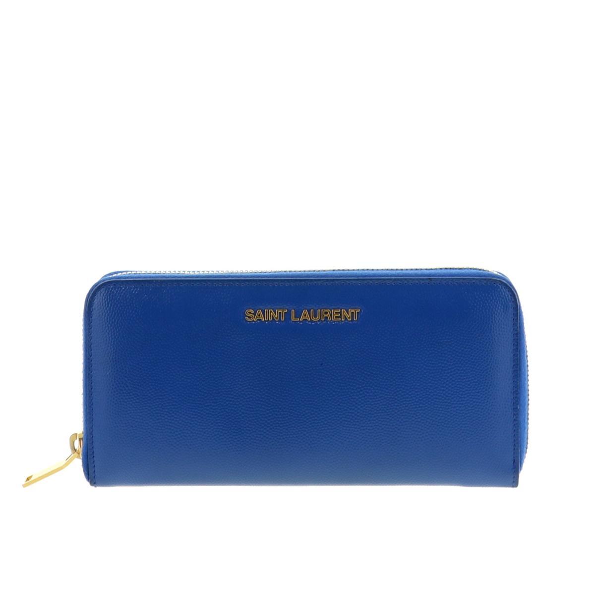 財布・ケース, レディース財布 SALE SAINT LAURENT () YSL ROUND ZIPPER WALLET W COIN CASE BLUE used:A