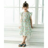 【calinou】フルーツプリントショルダーフリルワンピースキッズ女の子110cm120cm130cm140cm2色