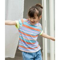 【calinou】ネオンカラーボーダーTシャツキッズ女の子100cm110cm120cm130cm140cm2色