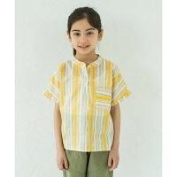 【coucoumanon】ストライププリント柄バンドカラーシャツ100cm110cm120cm130cm140cm男女兼用2色
