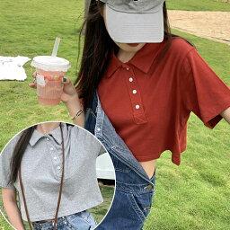 ショート丈 ポロシャツ 全3色 グレー レッド ブラック カットソー 半袖 トップス ハーフスリーブ デイリー カジュアル ストリート シンプル 大人っぽい ゆったり おしゃれ 人気 女性らしい 可愛い トレンド フリーサイズ オススメ 韓国女子 韓国スタイル 韓国ファッション