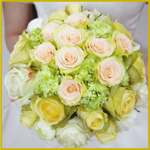 プリザーブドフラワー+造花 プリザイエローブーケ ブートニア ヘッドドレス 結婚式 ウェディング シルクフラワー アートフラワー 造花 写真撮り・お色直し ブライダル ブーケトス