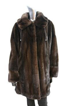 ミンクコート ダークブラウン 4フック ファーコート レディース 毛皮コート