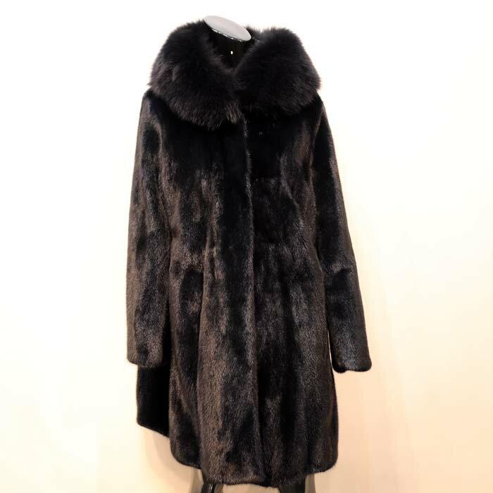 ミンク×フォックスフード付きコート ミンクコート 毛皮コート ファーコート レディース